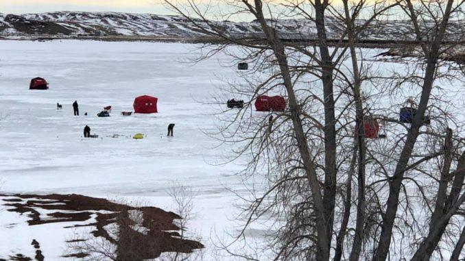 Ice Huts on Lake DeSmet